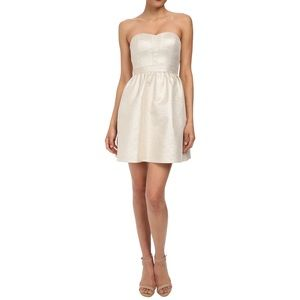 Metallic Strapless Jacqaurd Cocktail Dress